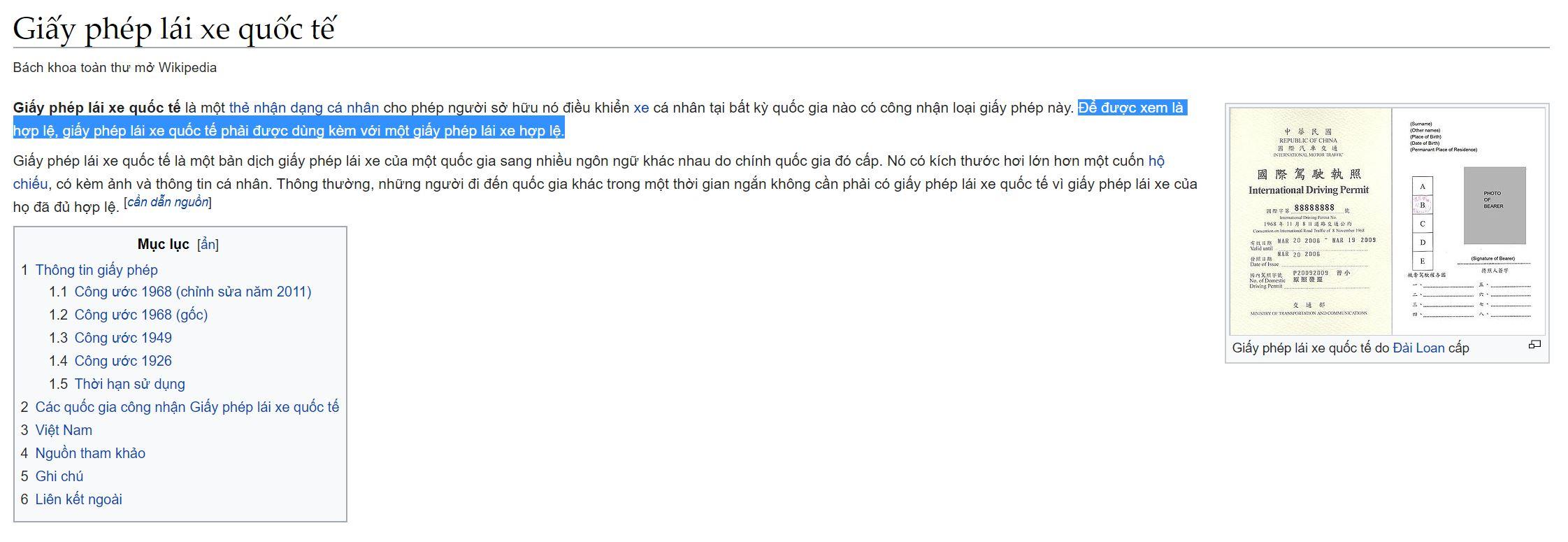 Tra trên Wiki về GPLX Quốc tế cũng có dòng lưu ý về việc sử dụng song song 2 bằng lái mới có giá trị